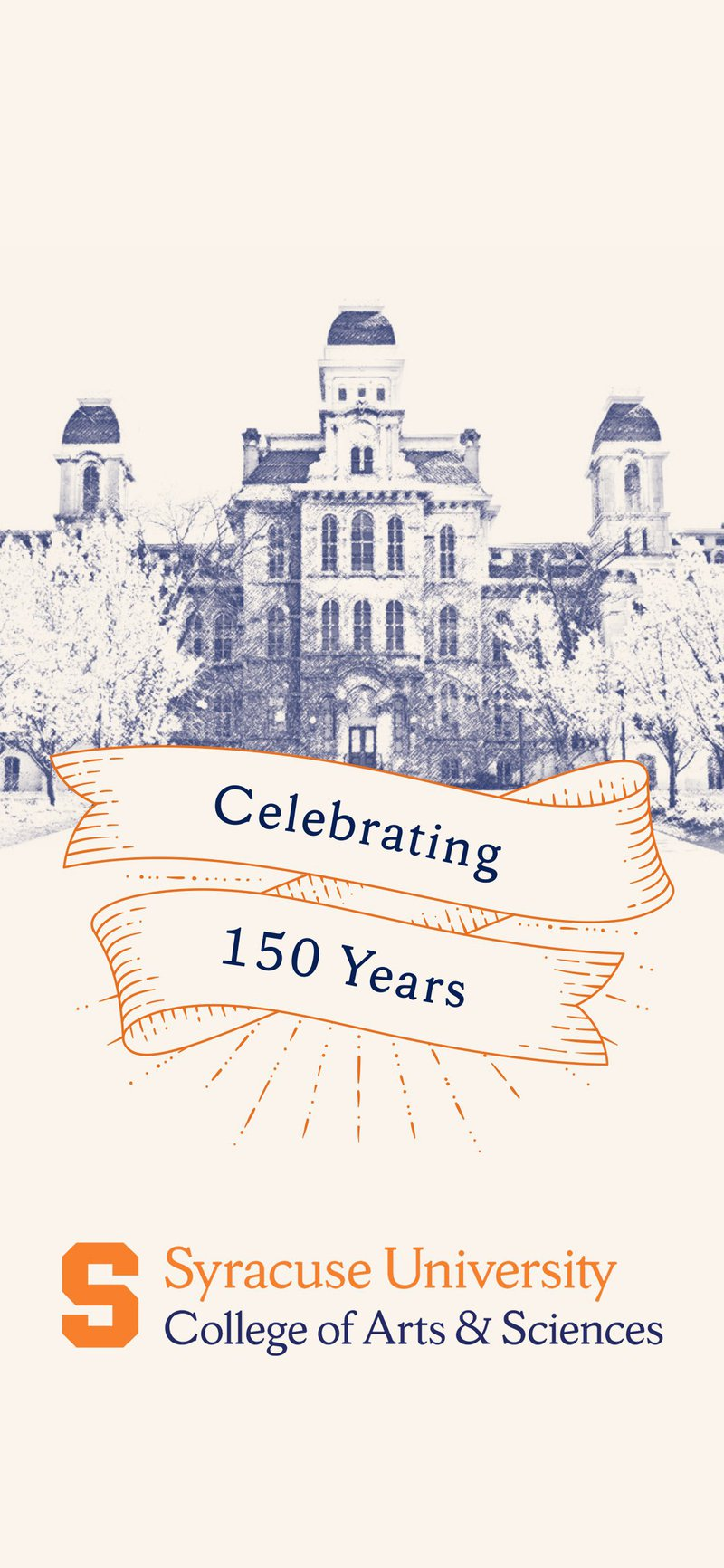 Phone wallpaper shows line sketch of Hall of Languages behind a banner that reads Celebrating 150 Years.