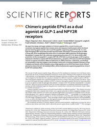 Chimeric peptide EP45 as a dual agonist at  GLP-1 and NPY2R receptors.