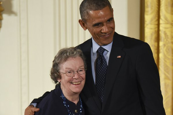 Edith Flanigen with Barack Obama.