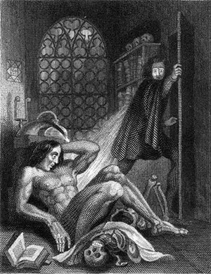 Illustration by Theodore Von Holst for the novel Frankenstein by Mary Shelley, published in 1831