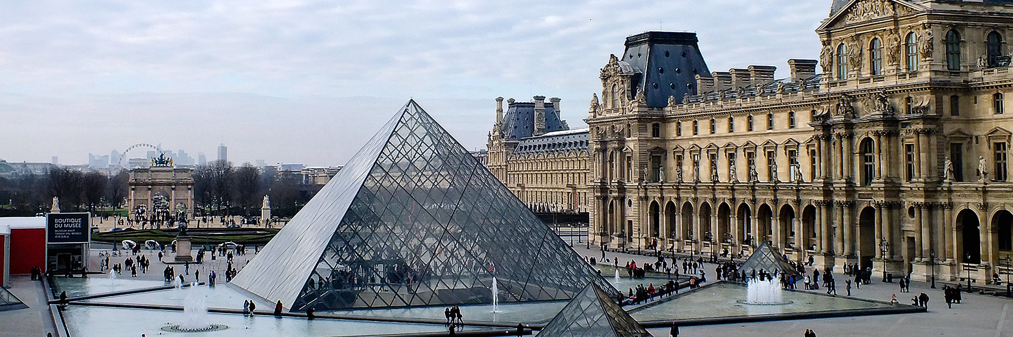 glass structure beside brown building, Louvre Pyramid, Paris, France