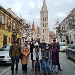 Fulbright scholars in front of Matthias Church in Budapest, Hungary.