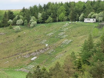 Buxton Climate Change Impacts Laboratory in Derbyshire, England, site of a climate change experiment running for over 15 years. Experimental 3 x 3 meter plots of land exposed to drought and/or heating treatments are marked off across the hillside.