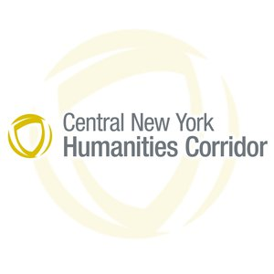 Central New York Humanities Corridor Logo with gold circle in the background.