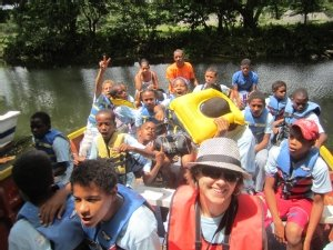Students from DREAM camp on their way to test sites on the Yasica River in the Dominican Republic