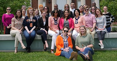 Members of the Undergraduate Advising Program in front of Hendricks Chapel.