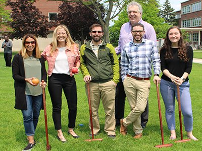Associate Dean Alan Middleton (back row) with a few croquet players.