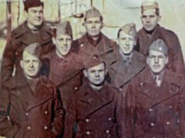 Waful (middle row, left) as a P.O.W. in Poland. During his internment, he often passed the time singing, as well as playing trombone and piano. On Christmas Day of 1944, Waful took part in six concerts for more than 1,800 other P.O.W.s.