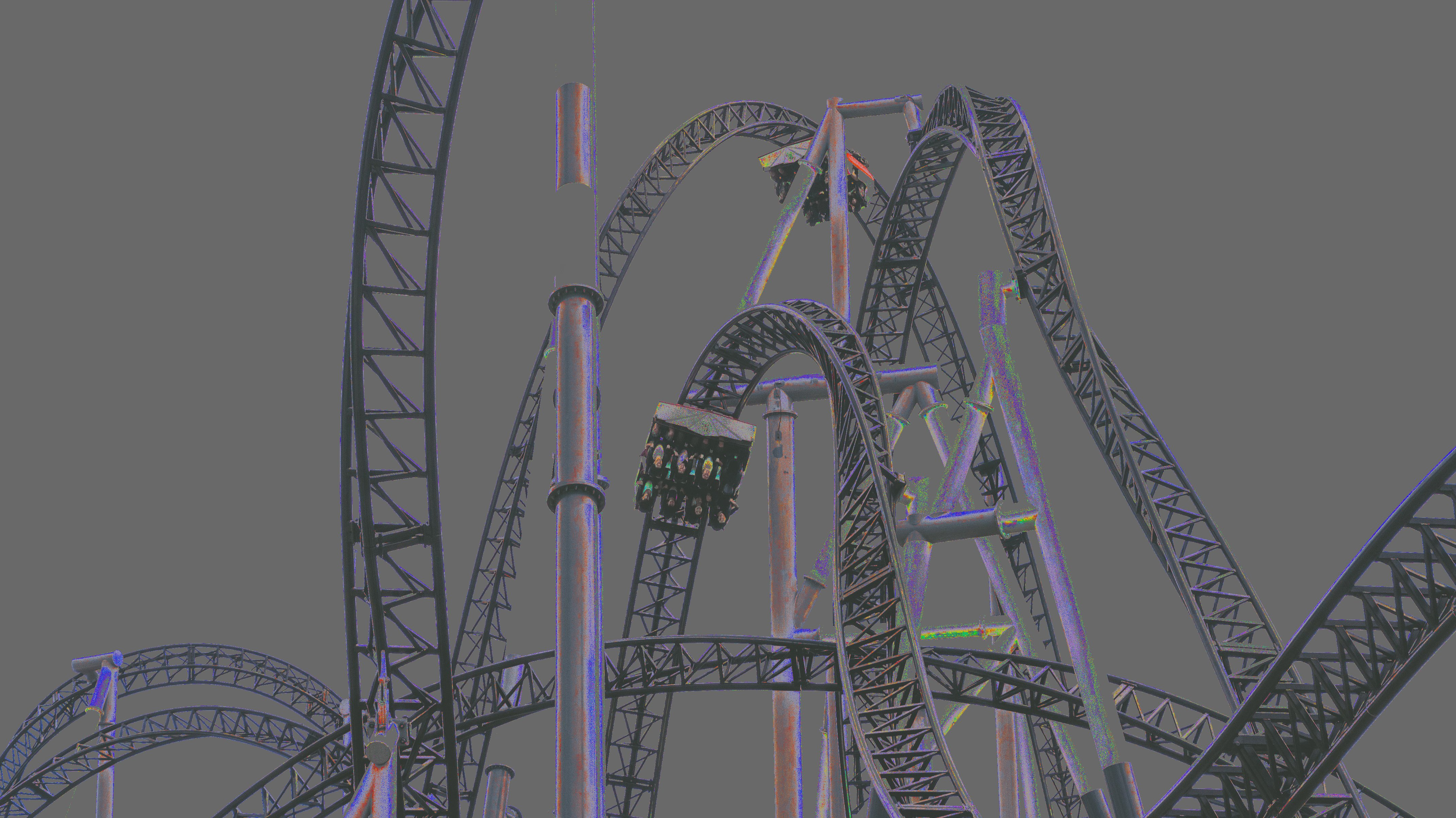 roller coaster rendered with color changes using university approved colors