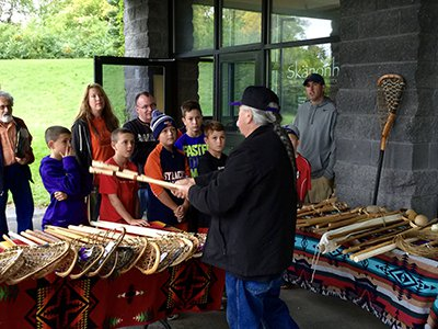 Alf Jacques, a member of the Onondaga Nation and a renowned lacrosse stick maker, discusses his work during the 2016 Lacrosse Weekend
