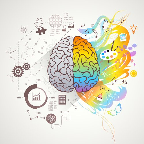 Illustration of a brain with monochrome left side surrounded by science icons , the right side in rainbow surrounded by arts icons.