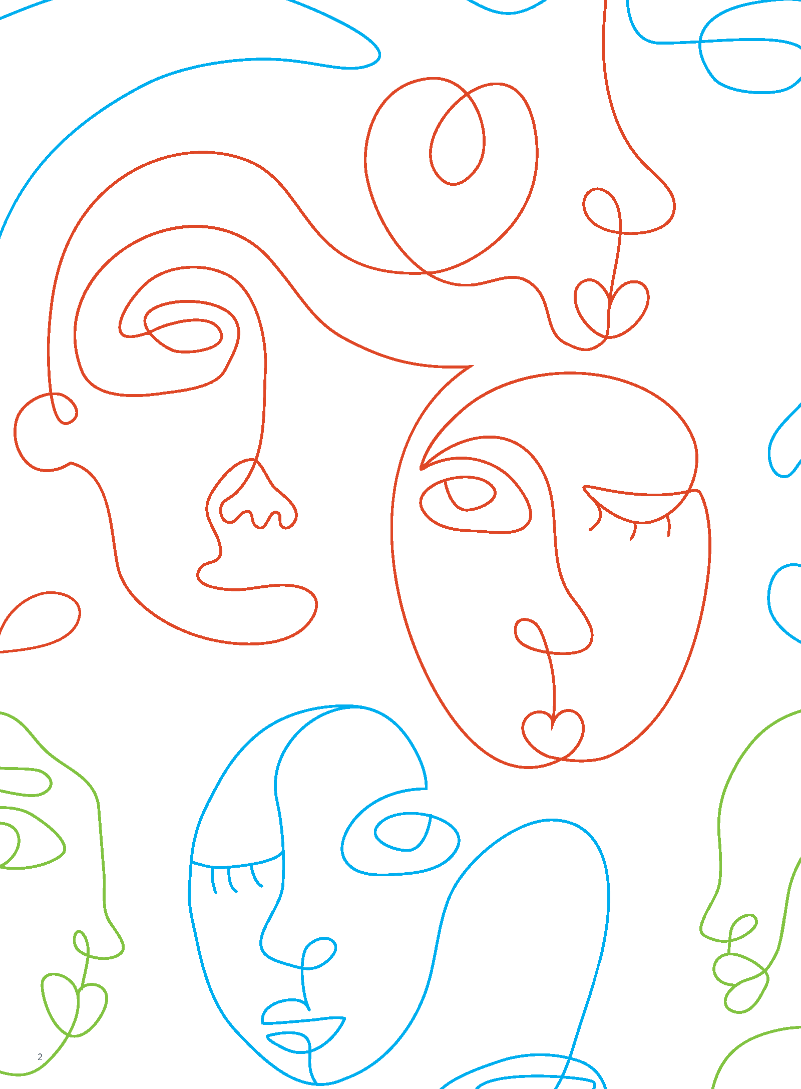 Abstract, continuous line drawings of faces.