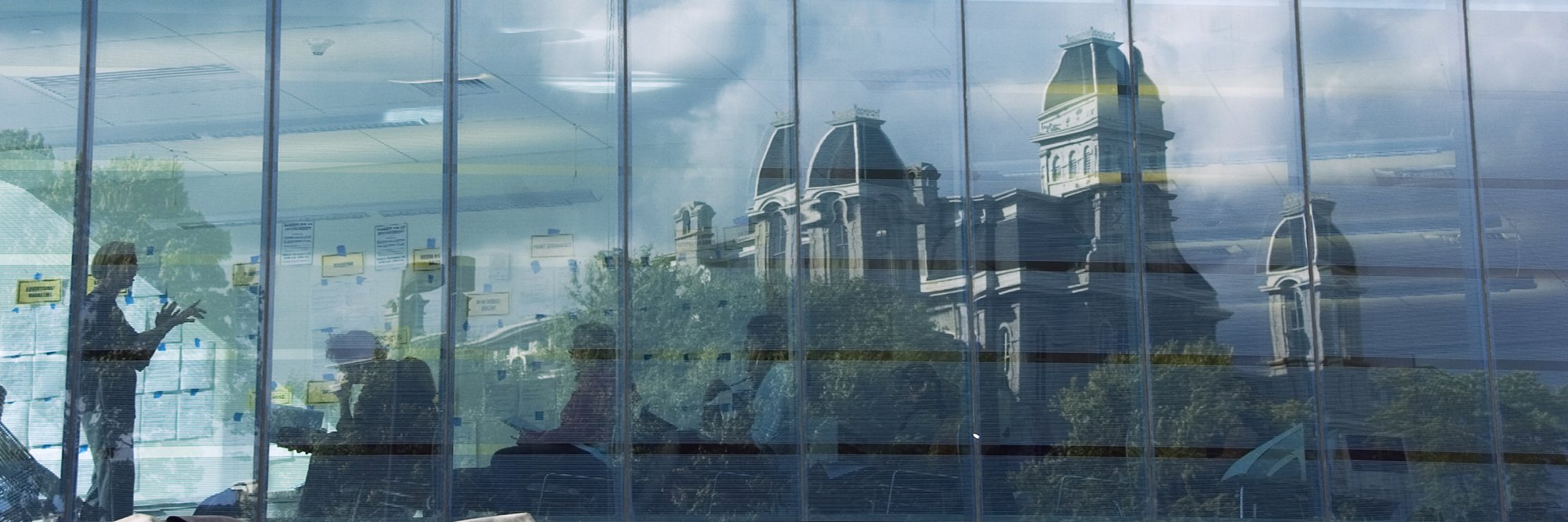 window reflection of the Hall of Languages