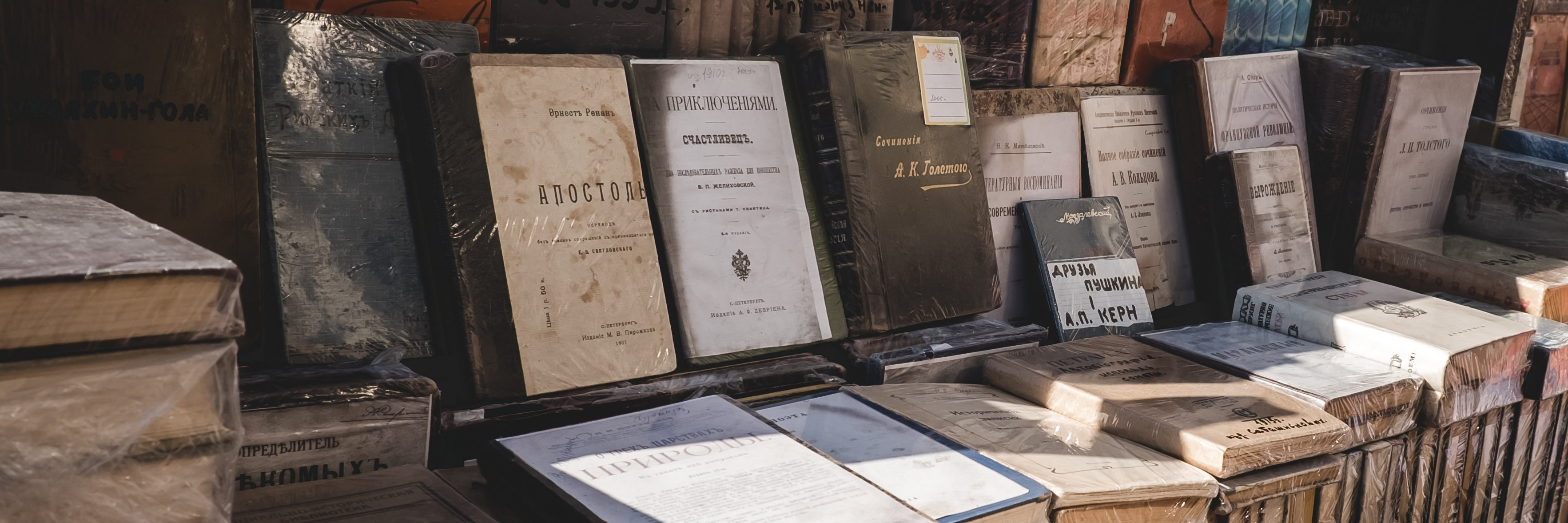 books in russian on display for sale