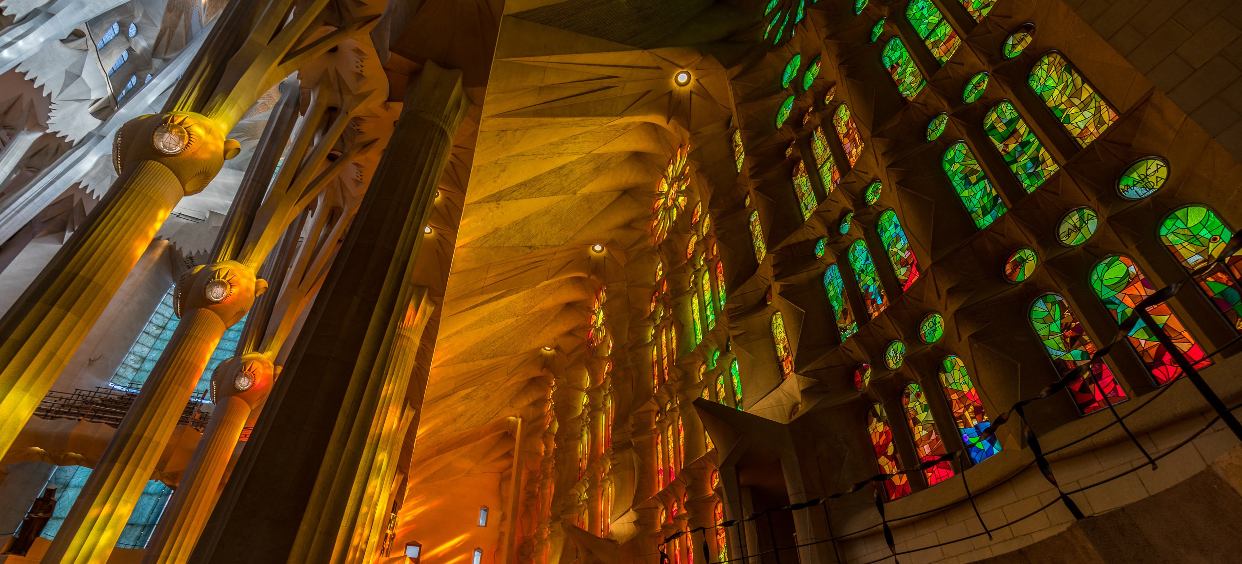Interior of La Sagrada Familia, Barcelona, Catalonia, Spain
