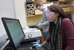 Kristina Arauz '16, a bioengineering major, and Tomas Smith '16, a dual major in biochemistry and geography, use the new equipment several hours a week.